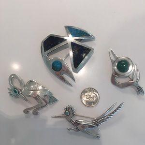 Vintage Peru Graziella Laffi Sterling Silver Pins